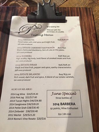 Paso Robles, Kalifornien: Tasting menu june 2017