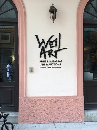 outside entrance - love the logo - Picture of Weil Art Gallery ...