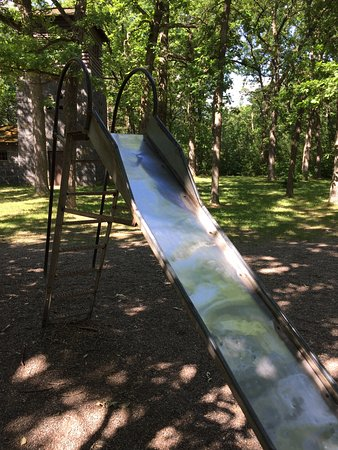 Little Falls, MN: Steel slide at playground