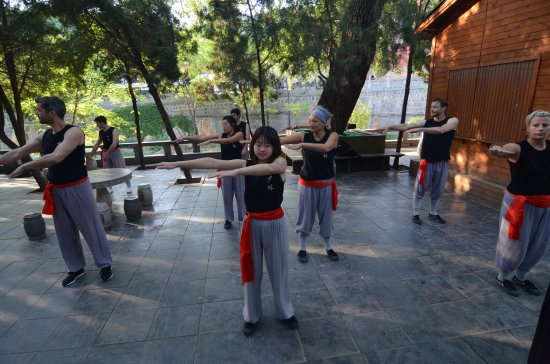 Dengfeng, Çin: May 2017 participants practicing Taichi, with CKMH coach, AJ, at the Shaolin Temple