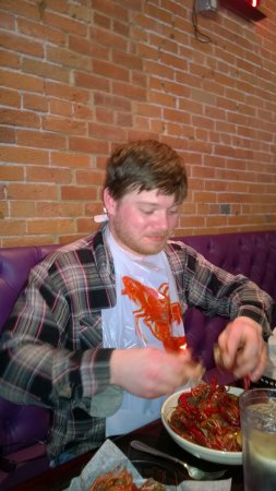 J. Gumbo's: My son enjoying the Crawfish bowl.