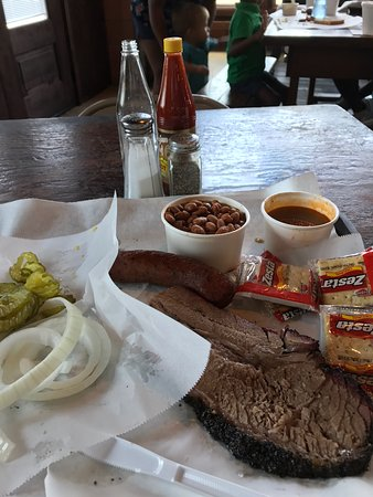 Taylor, TX: Perfect brisket, jalapeno sausage and trimmings.