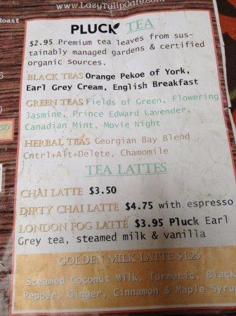 Barrie, Kanada: Tea menu