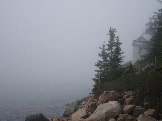 Bass Harbor, ME: fog, ocean, light house