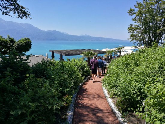 Chexbres, Switzerland: Pathway down to restaurant and bar seating area