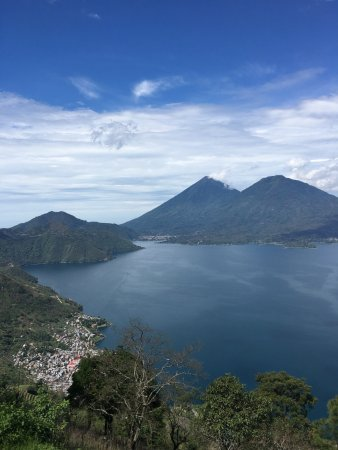 Rim trail of Lake Atitlan, looking down on San Antonio Palopo