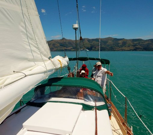 Akaroa, Nova Zelândia: Taking turns at the helm while Ray points out marine life
