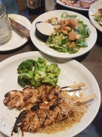 Warner Robins, GA: Shrimp skewers and cesar salad