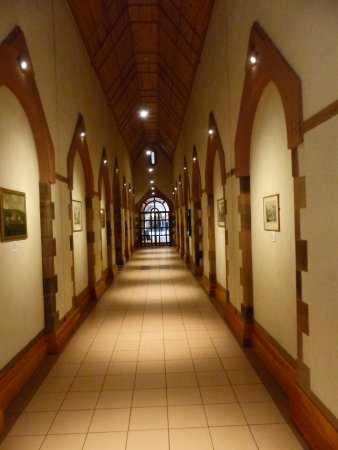 Ampleforth, UK: One of the characterful Abbey corridors near the tea room
