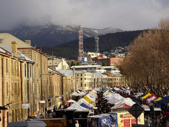 Salamanca Market with snow capped Mount Wellington in the background