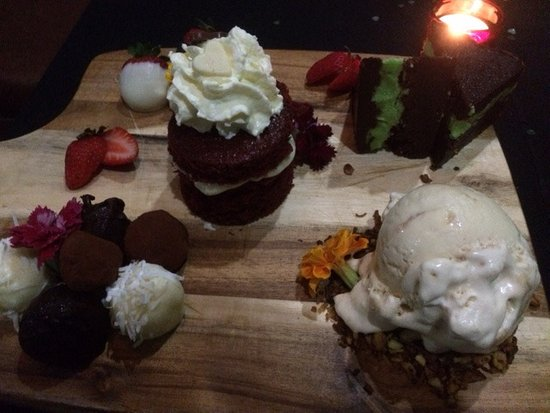Delicious dessert for Valentines Day at Giddy Goat, Rockhampton