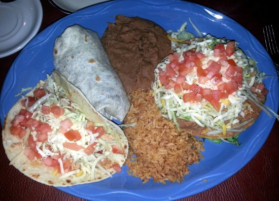 Glenview, IL: the burrito plus two (a taco and a tostado) with rice and refried beans