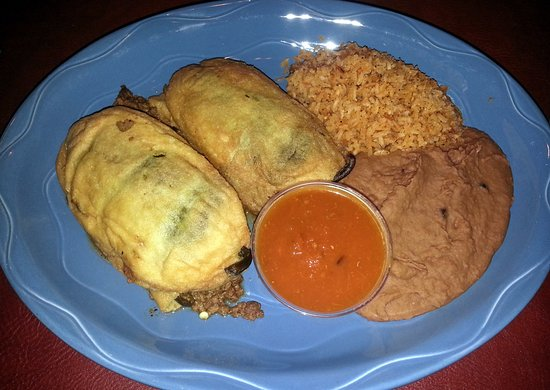 Glenview, IL: chile relleno with ground beef, rice and refried beans