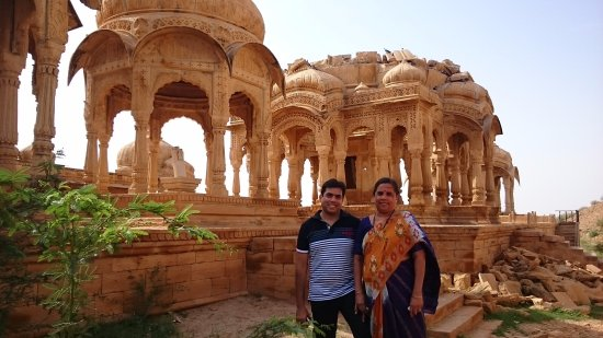 Bada Bagh: Me and mom with some of the cenotaphs in background