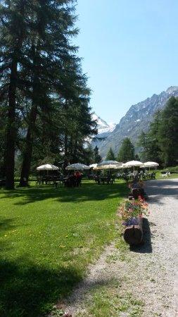 Arolla, Suíça: Mieux qu'une terrasse ; manger dans le jardin !