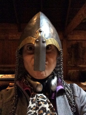 Vestvagoy, Norway: Testing some viking gear. You can touch almost everything in the viking replica building.