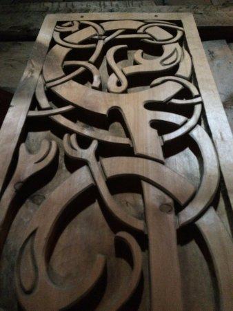 Vestvagoy, Norway: Wood carvings.