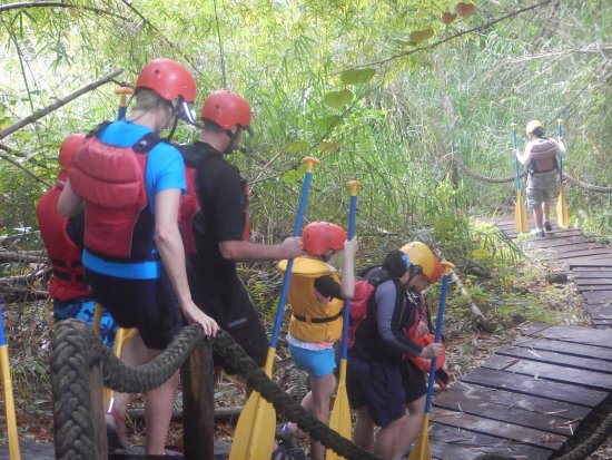 Rivers Fiji - Day Adventures: this part was relatively flat, and had wooden stairs