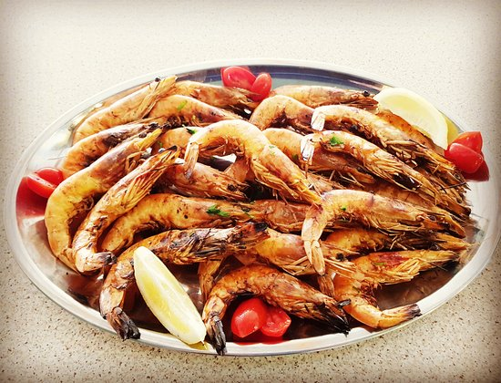 Archangelos, Hellas: Grilled shrimps