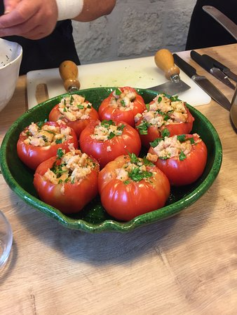 Uzès, France : Stuffed tomatoes