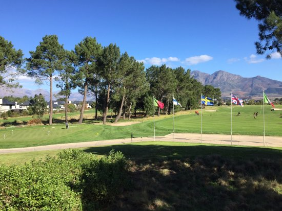 Franschhoek, South Africa: A view from one of the new hotel suites overlooking the driving range.