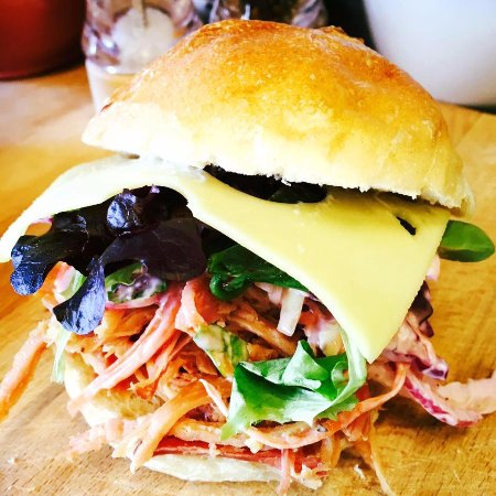 Rugby, UK: Sandwiches, loaded with great ingredients...this one's slow roasted apple gammon