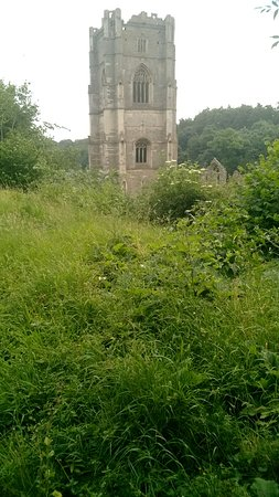 Fountains Abbey and Studley Royal Water Garden: The abbey from path
