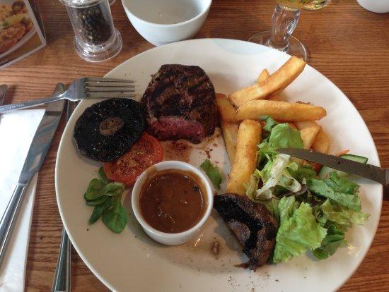 Scunthorpe, UK: Fillet steak (medium rare) withpeppercorn sauce.
