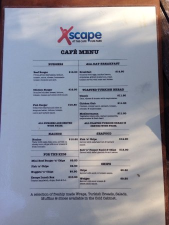 Dunsborough, Australia: Xscape Cafe Menu