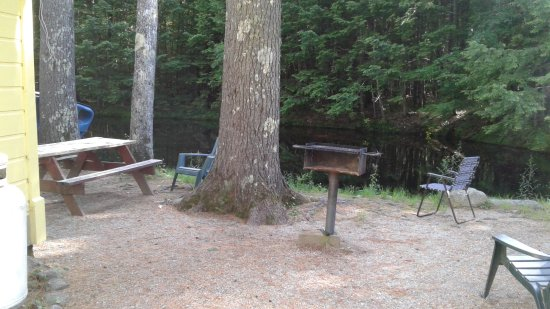 Tanglewood Motel and Cottages: Picnic table and grill behind cottage with the stream beyond.