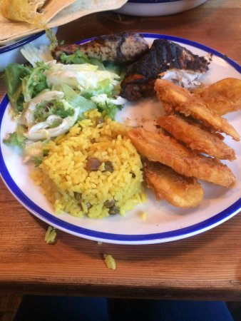 Brighton and Hove, UK: Jerk Chicken with Plantain, Rice and Peas.