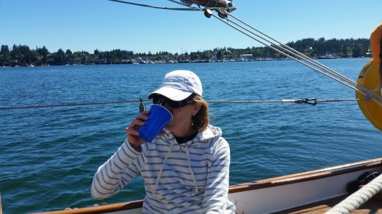 "San Juan Classic Day Sailing: Enjoying a sip of chilled wine on ""Iris."" Such a gorgeous day!"