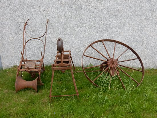 Farm implements at the Strathnaver Museum in Bettyhill.