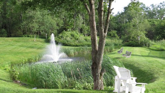 Pond with foutain at Best Western Freeport