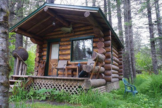 Alaska Creekside Cabins: The Burl cabin. Also had a fire pit and nice relaxing view of the creek.