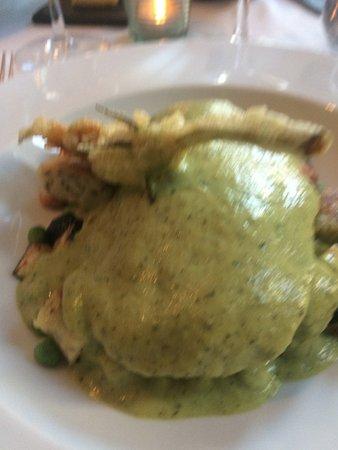 Lostwithiel, UK: poached sole, pea puree