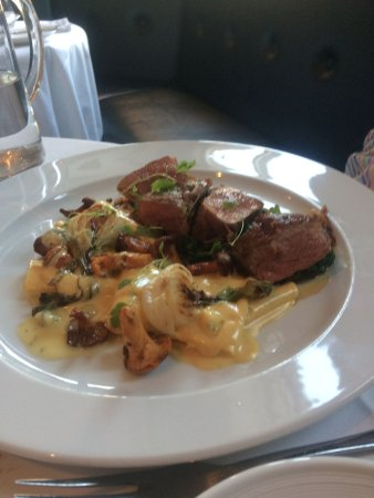 Lostwithiel, UK: veal with girolles