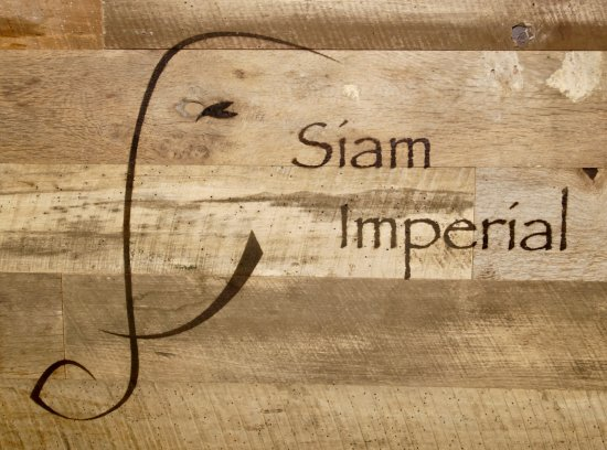 Imperial Beach, CA: Wood carved Siam Imperial sign
