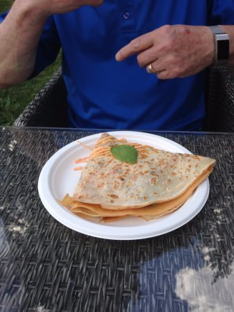 Clarendon Hills, IL: Bed & Breakfast crepe, sausage, egg whites, bacon, spinach, cheddar cheese, spicy mayo