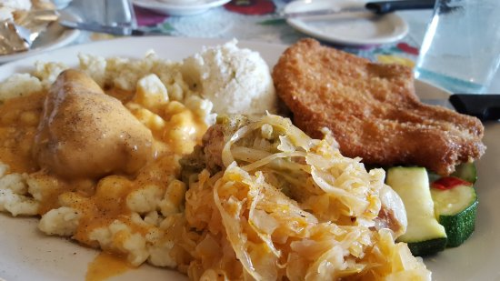Southgate, MI: Combo Platter of Chicken Paprikash, Pork Chop, and Stuffed Cabbage with mashed potato and vegeta