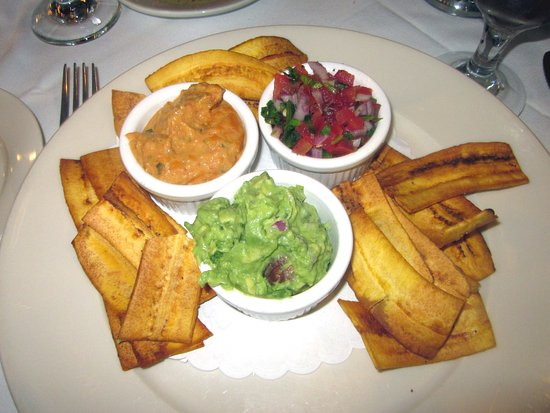 Yardley, PA: Trio of Spreads: Roasted Pepper Hummus, Guacamole, & Pico de Gallo with Plantain Chips