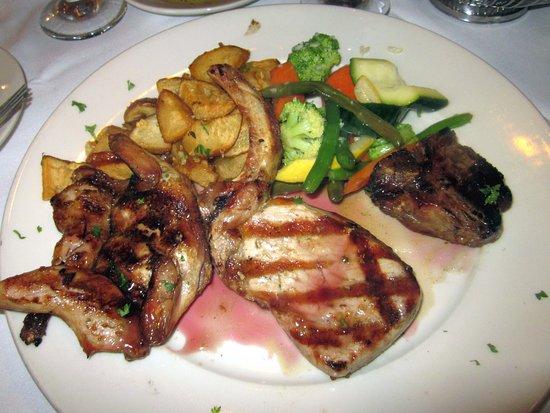 Yardley, PA: Mixed Grill: Porterhouse Lamb Chop, Quail & Grilled Pork Chop