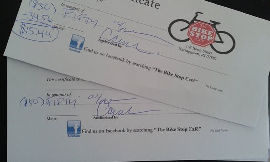 The Bike Stop Cafe: Always have Bike Stop Certificates on hand due to their great promos!!!