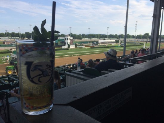 Churchill Downs: julep in our box, and our view.