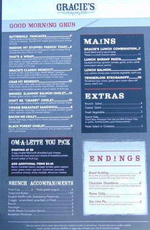 Williamston, MI: Back of the brunch menu
