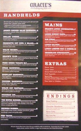 Williamston, MI: Back of lunch menu