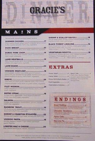 Williamston, MI: Back of dinner menu