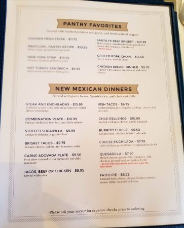 Pantry Restaurant Santa Fe Nm Menu