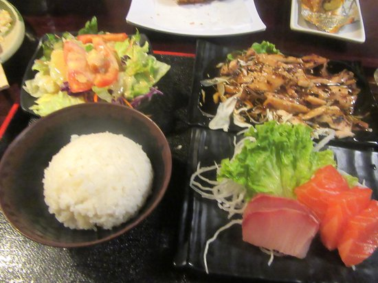 Chicken Teriyaki, Rice, Salad, Sashimi, Uotomo Sushi, Milpitas, CA