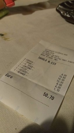 Oliveri, Italie : Cheap final bill! In reality enough food for 3 let alone 2!